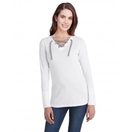 LA3538 LAT LA3538 Ladies Long-Sleeve Fine Jersey Lace-Up T-Shirt BLEND WHT/ TITNM