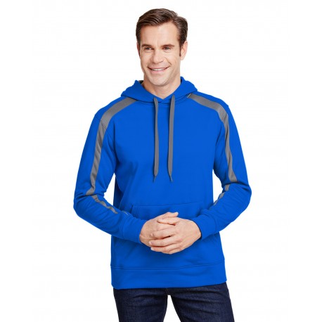 N4004 A4 N4004 Mens Spartan Tech-Fleece Color Block Hooded Sweatshirt ROYAL/ GRAPHITE