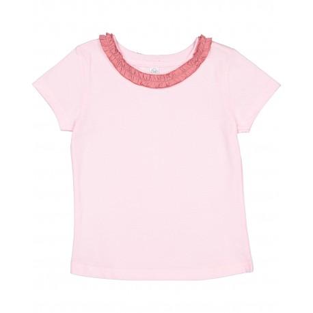 RS3329 Rabbit Skins RS3329 Toddler Girls Ruffle Neck Fine Jersey T-Shirt BLRNA/ MAUVELOUS