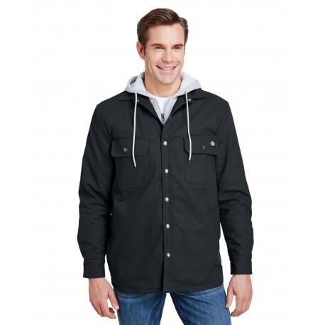 TJ203 Dickies TJ203 Mens Hooded Duck Quilted Shirt Jacket BLACK