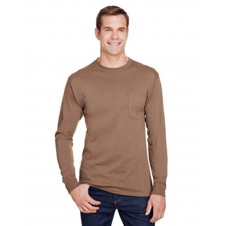 W120 Hanes W120 Adult Workwear Long-Sleeve Pocket T-Shirt ARMY BROWN