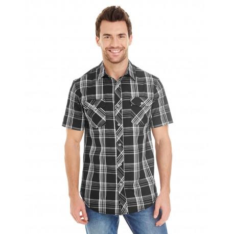 B9202 Burnside B9202 Men's Short-Sleeve Plaid Pattern Woven BLACK/WHITE