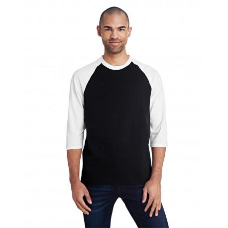 G570 Gildan G570 Adult 5.3 oz. 3/4-Raglan Sleeve T-Shirt BLACK/WHITE