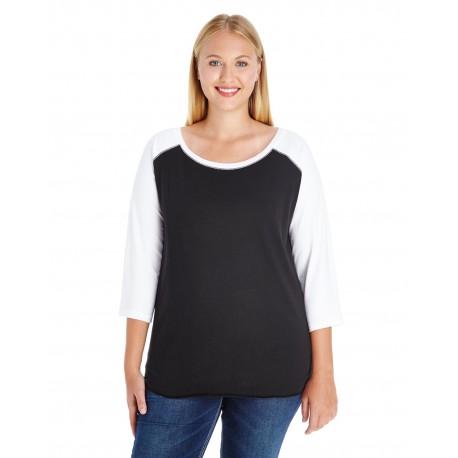 3830 LAT 3830 Ladies' Curvy Baseball Premium Jersey T-Shirt BLACK/WHITE