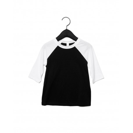 3200T Bella + Canvas 3200T Toddler 3/4-Sleeve Baseball T-Shirt BLACK/WHITE