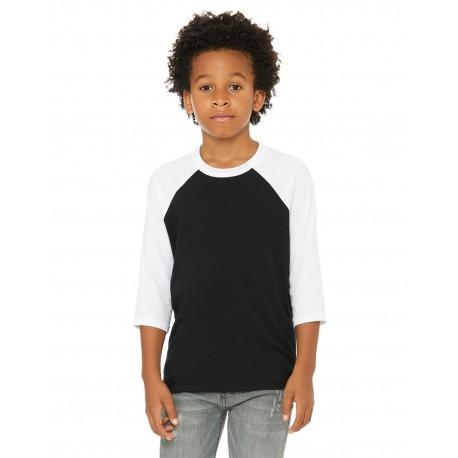 3200Y Bella + Canvas 3200Y Youth 3/4-Sleeve Baseball T-Shirt BLACK/WHITE